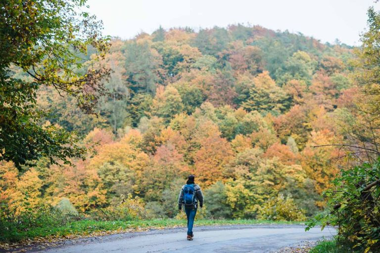 Willi Weitzel wandert in herbstlicher Landschaft in Hessen